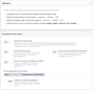Facebook for developers : Product Setup : Facebook Login
