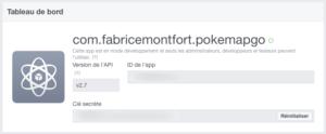 Facebook for developers : Dashboard