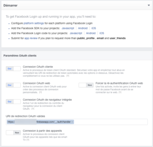 Facebook for developers : Product Setup : Facebook Login