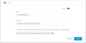 Firebase Console : Auth : Facebook